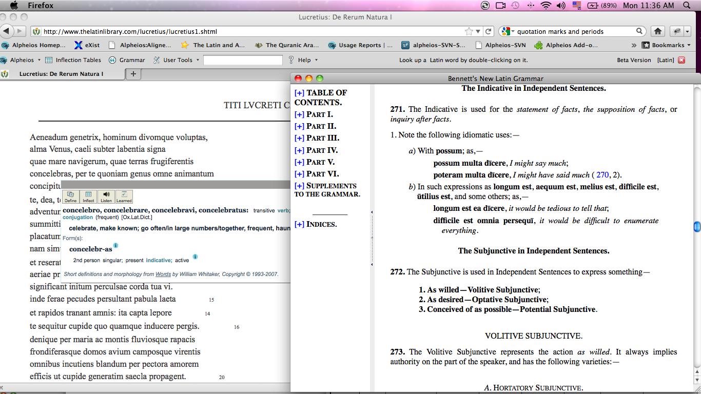 Alpheios Reading Environment Latin